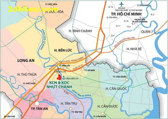 Bán 150 hecta cụm công nghiệp tỉnh lộ 832, xã Nhựt Chánh, huyện Bến Lức, tỉnh Long An