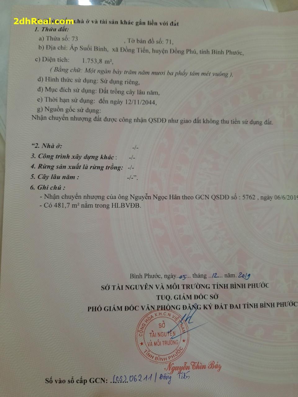 Đất Đồng Phú Bình Phước giá đầu tư 290tr / 1250m2 lh  Đt 0944463883