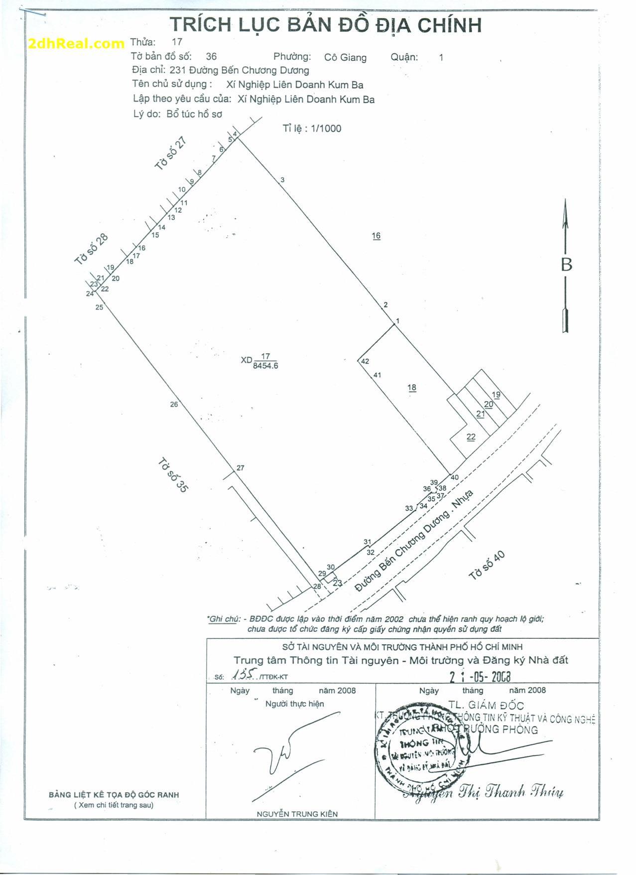 Bán dự án Kum – Ba 6.300m2, 342 Võ Văn Kiệt (231 Bến Chương Dương), phường Cô Giang, quận 1, Tp.HCM