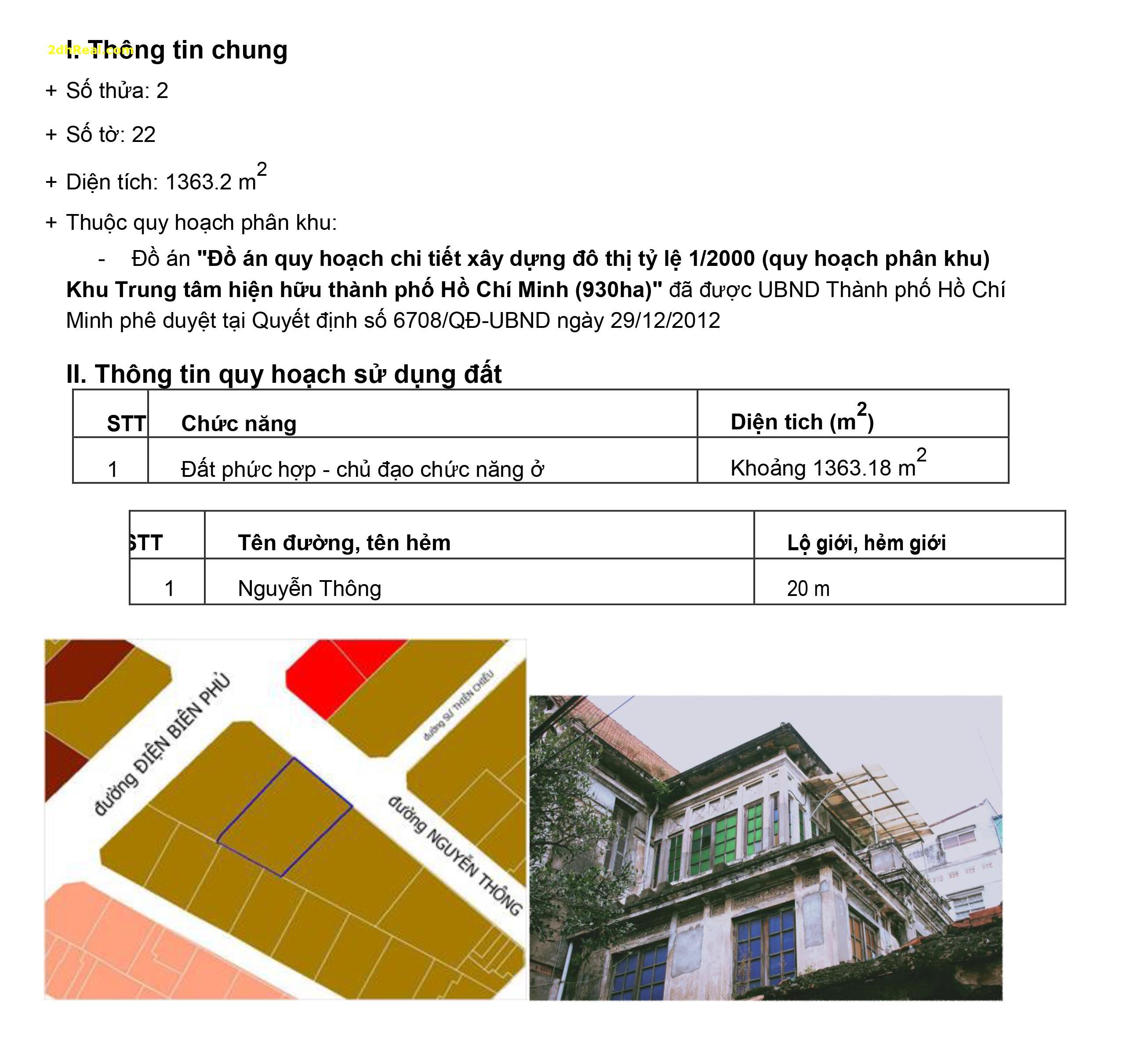 Bán biệt thự đường Nguyễn Thông Phường 7, quận 3, HCM