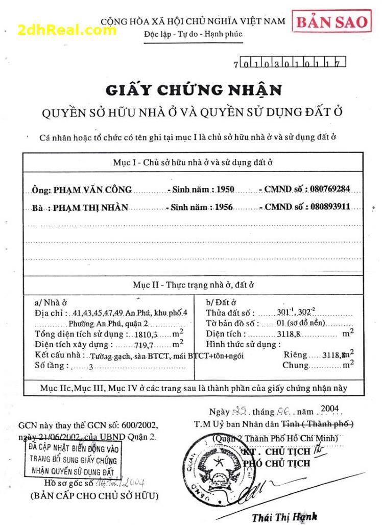 Bán nhà khu đất 41 – 49 An Phú, khu phố 4, phường An Phú, quận 2, Tp.HCM